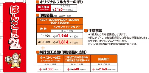 オリジナルのぼり価格